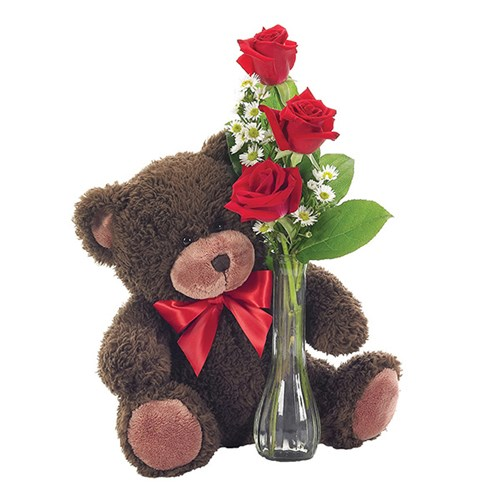 Classic bud vase roses with teddy bear from Ingallina's online gift shop