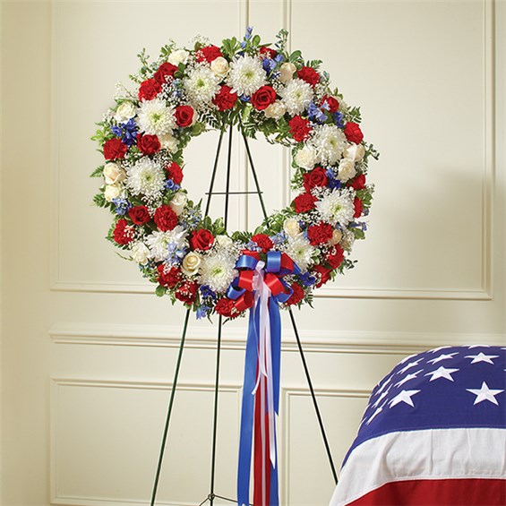 Red White Amp Blue Standing Wreath 1 800 Flowers 4 Gift