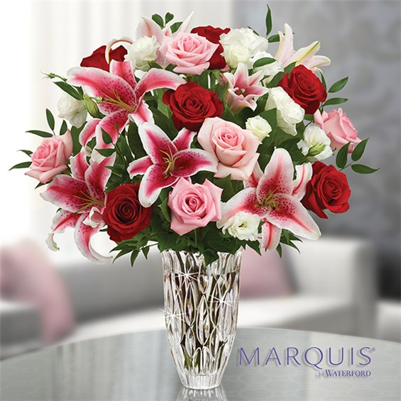 1 800 Flowers 174 Marquis By Waterford 174 With Red Rose And Lily Bouquet 1 800 Flowers 4 Gift Seattle
