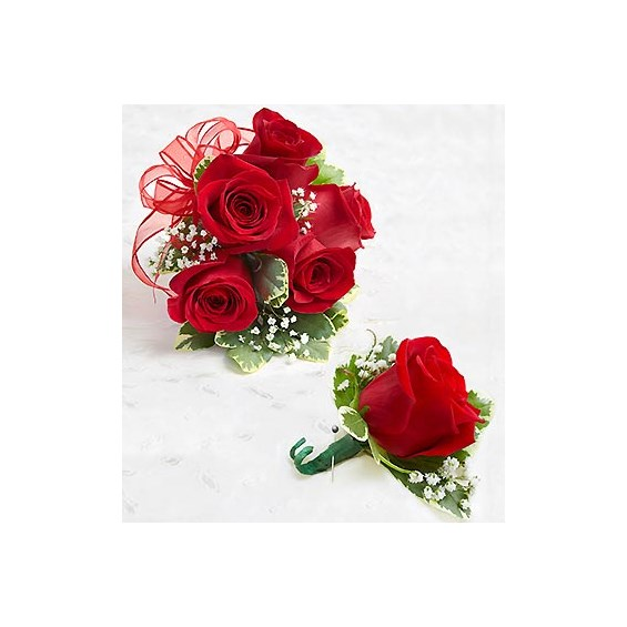 1 800 Flowers 174 Red Rose Corsage And Boutonniere Seattle Wa
