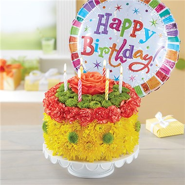 1800FLOWERS BIRTHDAY WISHES FLOWER CAKE YELLOW 1800Flowers 4