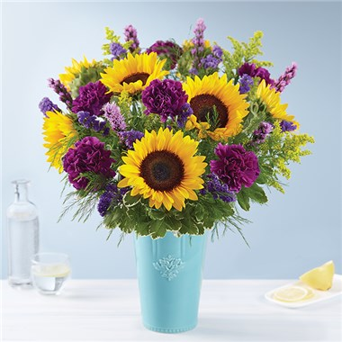 Golden Sunflowers In Rustic Charm Vase 1 800 Flowers 4 Gift Seattle