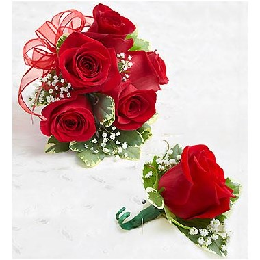 Red Rose Corsage And Boutonniere 1 800 Flowers 4 Gift