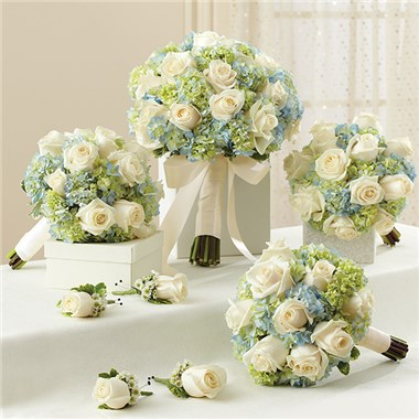 1 800 FlowersR Personal Package Blue White Per Site Bridal Bouquet 3 Bridesmaid Bouquets And 4 Boutonnieres
