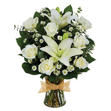 Tribute Mixed Vase Arrangement All White Seattle Wa